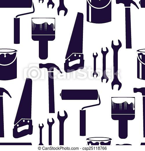 Home interior furniture vector seamless pattern - csp25118766