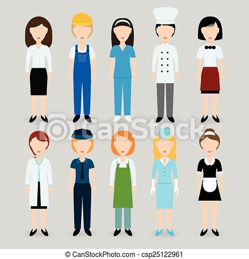 Clip Art Vector of women profession csp25122961 - Search Clipart ...