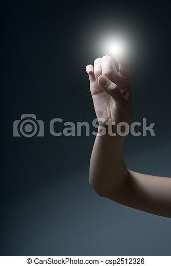 index finger pressing a touchscreen - csp2512326