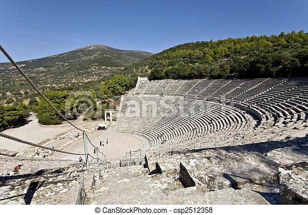Ancien, Grèce,  peloponisos, amphithéâtre,  Epidaurus - csp2512358