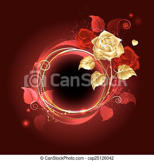 Round banner with gold rose - csp25126042