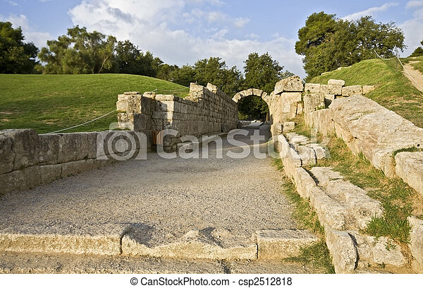 Main entrance at ancient Olympia stadium in Greece - csp2512818