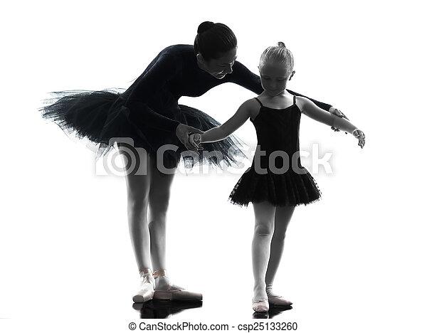 woman and little girl  ballerina ballet dancer dancing silhouett - csp25133260
