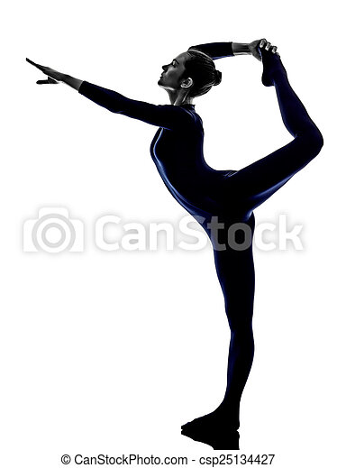 woman exercising Natarajasana dancer pose yoga silhouette - csp25134427