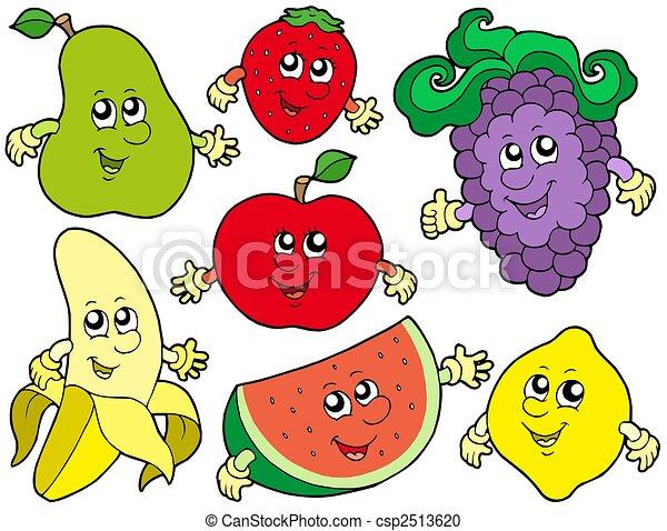 Cartoon fruits collection 2 - csp2513620