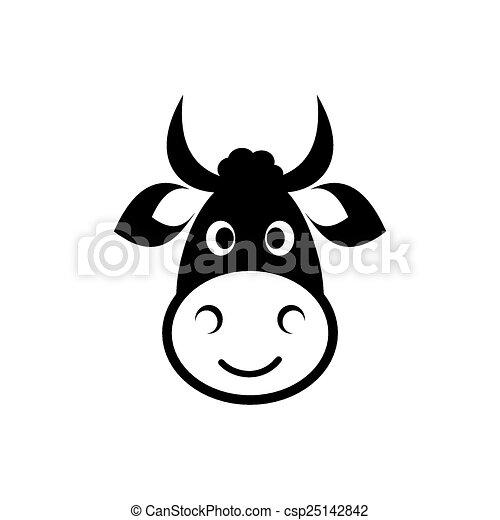 Cute Cow Head Drawing Cute Black Vector Cow Head