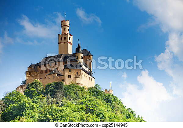 View Marksburg castle on top of the mountain - csp25144945