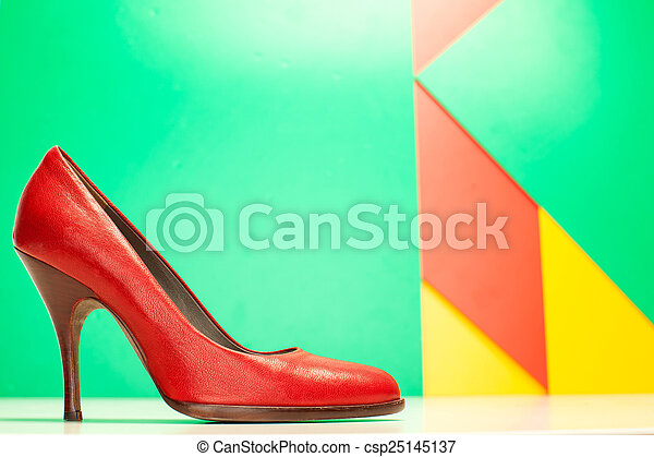 red high heels shoes - csp25145137