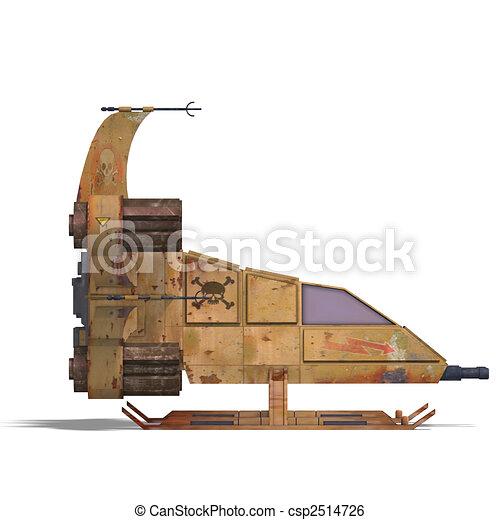futuristic transforming scifi robot and spaceship  - csp2514726