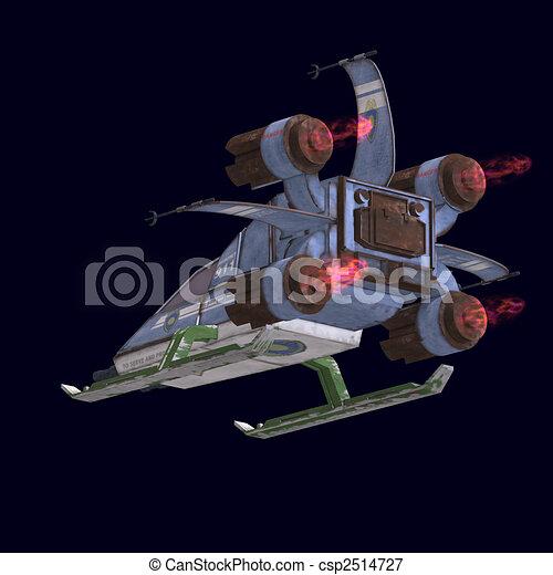 futuristic transforming scifi robot and spaceship - csp2514727