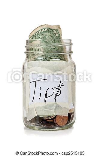 Tip jar with money  - csp2515105