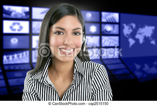 Beautiful indian woman television news presenter - csp2515150