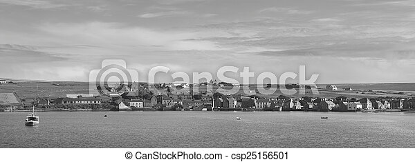 St Margaret Hope harbor panoramic view in Orkney. Scotland. UK - csp25156501