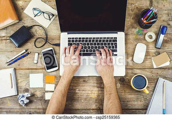 madeira, mistura, tabela, escritório,  desktop - csp25159365