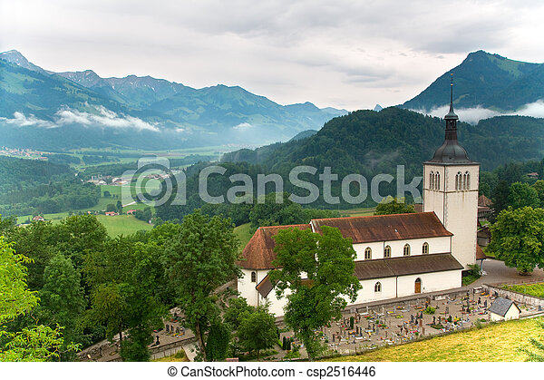 Church of Gruy�res in the canton of Fribourg, Switzerland - csp2516446