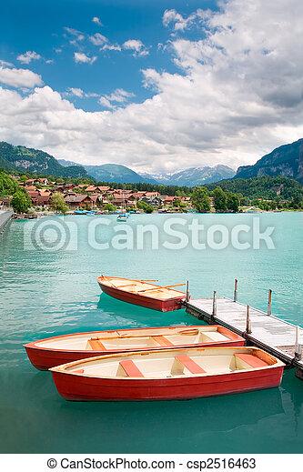 Rowboats on Lake Brienz, Berne Canton, Switzerland - csp2516463