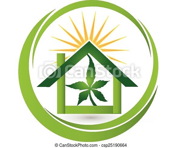 House Leaf Cannabis Plant Logo