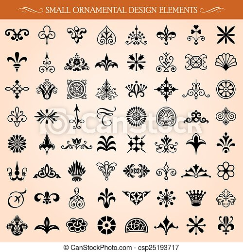 Vector Clip Art of Small Ornamental Design Elements and Page