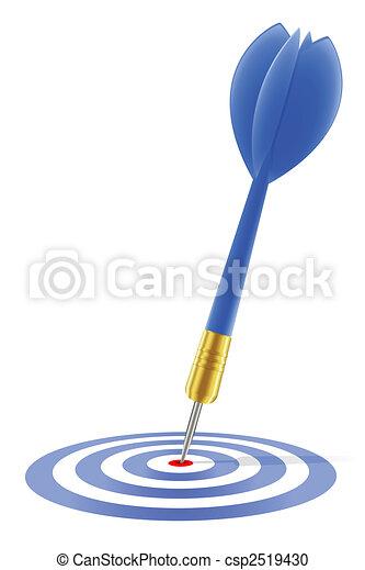 Blue dart hitting the target  - csp2519430