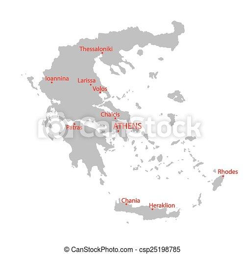 grey map of Greece - csp25198785