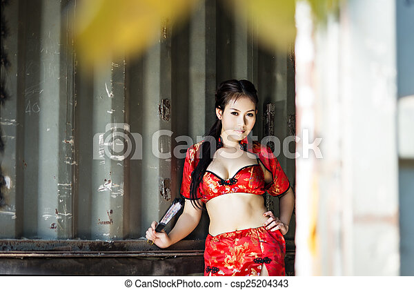 Sexy Chinese woman red dress traditional cheongsam