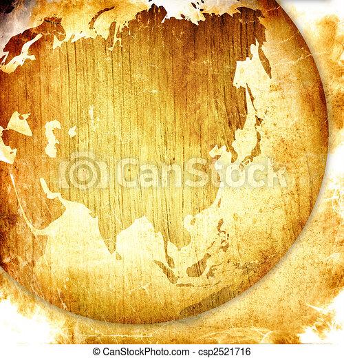 aged asia map-grunge artwork - csp2521716
