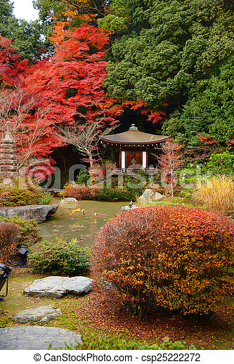 japanese style building with autumn leaves