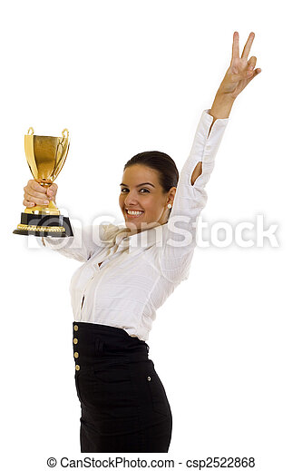 business woman with trophy award