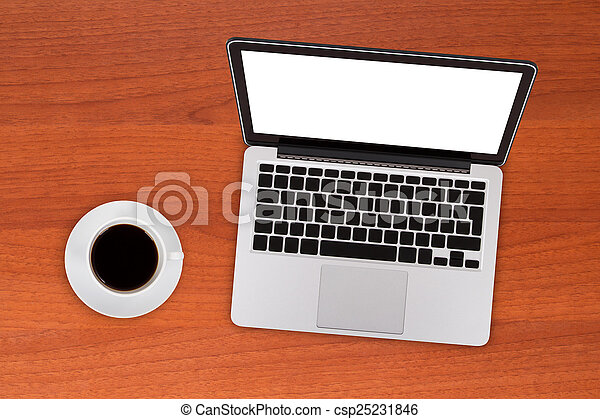 Laptop Mock Up with Coffee