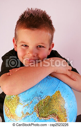 Boy with globe - csp2523226