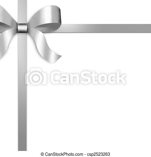 Gift Ribbon with Silver Satin Bow - csp2523263
