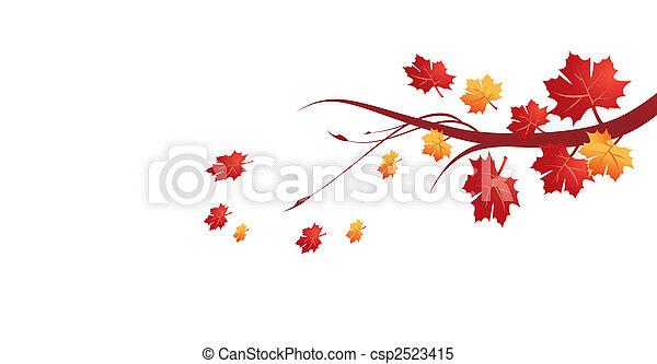 automne, feuilles, vecteur,  Illustration - csp2523415