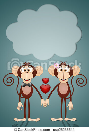 Drawing of a couple of two Monkeys in love - illustration ...