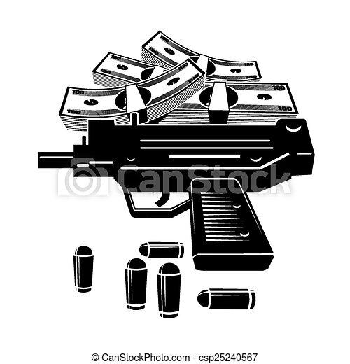 Clip Art Vector of Gun and money - Illustration of uzi gun ...