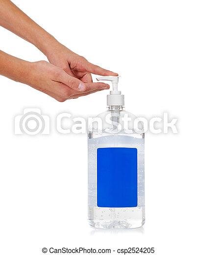 Child\'s hand dispensing hand sanitizer - flu prevention - csp2524205