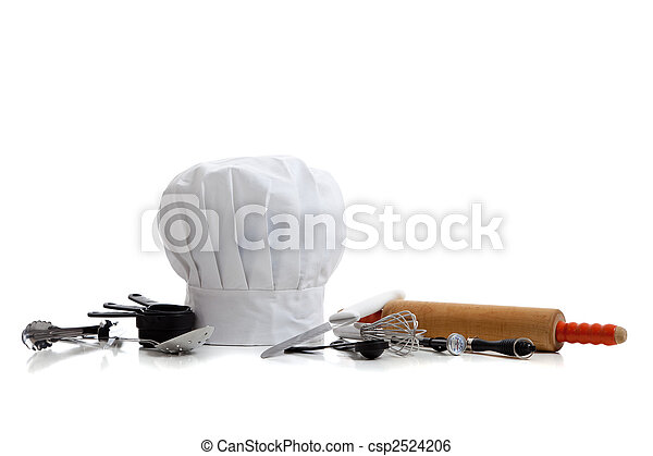 baking utensils with a chef\'s hat - csp2524206