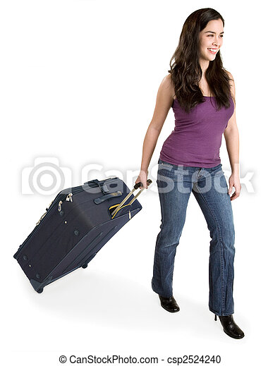 Smiling Young Lady Pulling her Luggage  - csp2524240