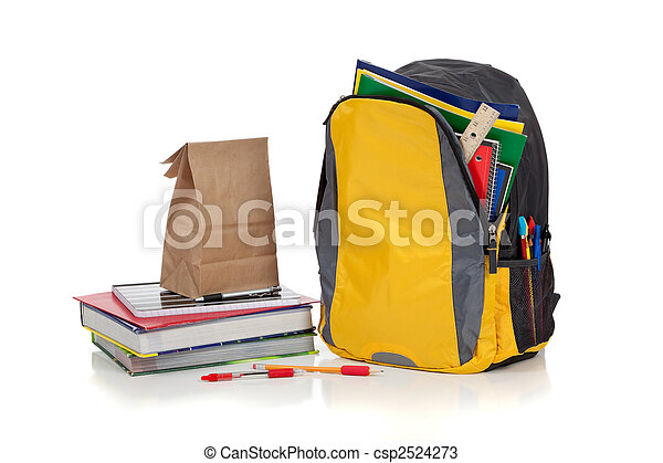 Yellow backpack with school supplies - csp2524273