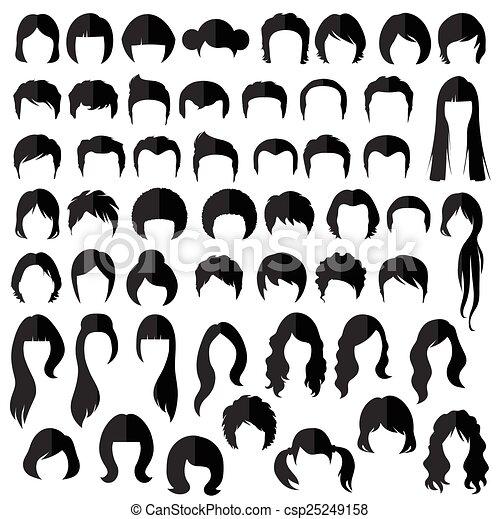 发型, 矢量, 头发 - csp25249158