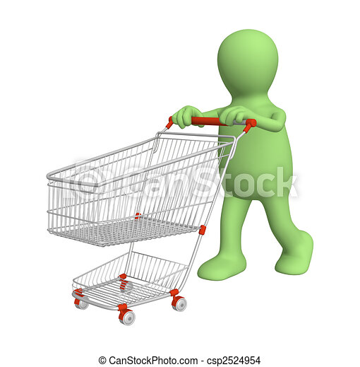 3d puppet, going for purchases - csp2524954