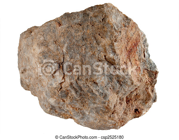 Large rock stone isolated on a white background. - csp2525180