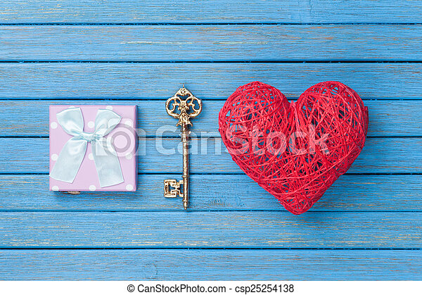 Heart shape toy with key and gift box