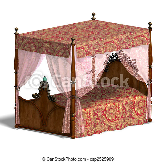 canopy bed of louis XV. - csp2525909