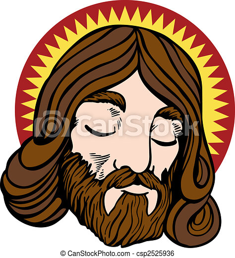 Clip Art Vector of Jesus face - Face of Jesus with halo in a ...