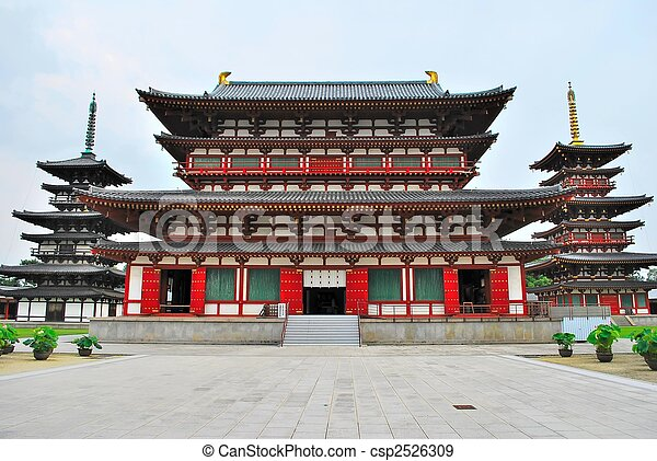 Majestic temple with towering twin pagodas - csp2526309