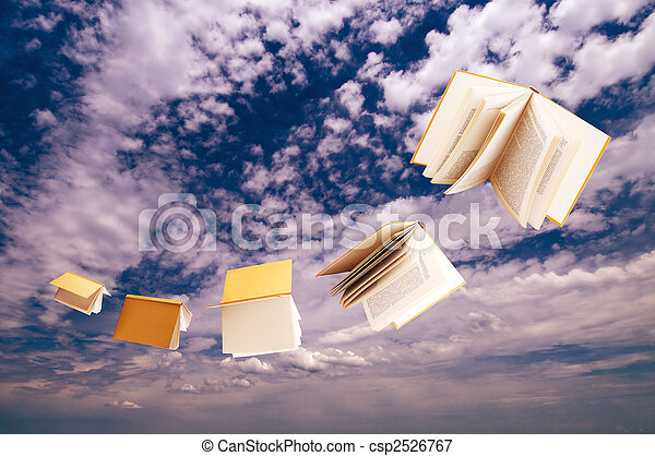 flock of books flying on blue sky background - csp2526767