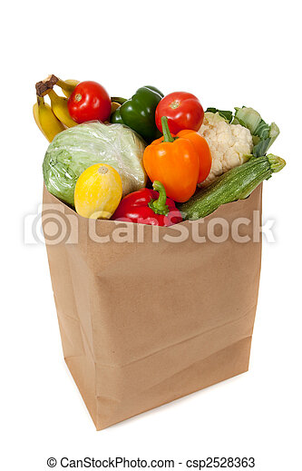 grocery sack full of vegetables on a white background - csp2528363