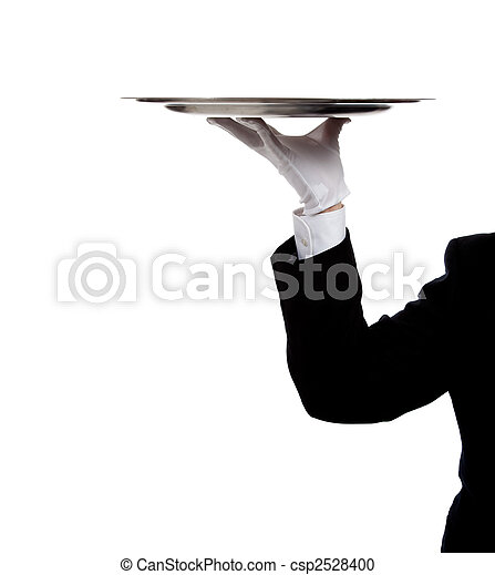 A butler's gloved hand holding a silver tray - csp2528400