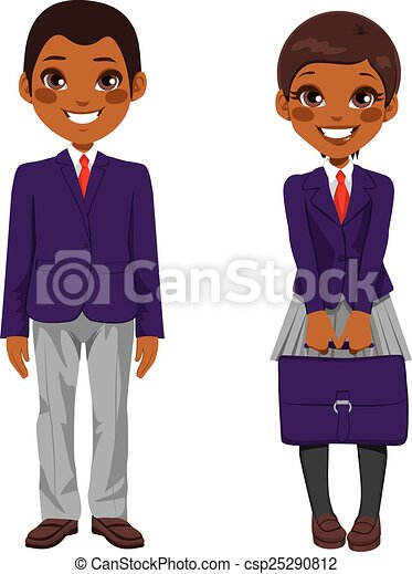 Vector Clip Art of African American Students Uniform - Two ...