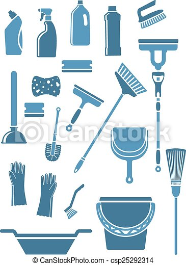 Vector Clip Art of Domestic cleaning tools and supplies - Domestic ...